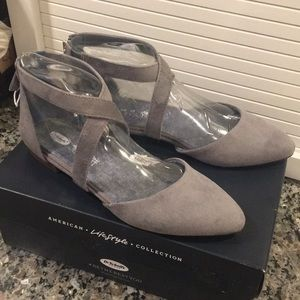 Dr Scholl's Adjust Flat Grey Suede size 8.5 NWT